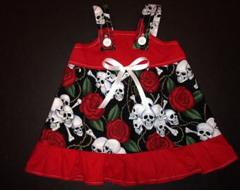 Skull & Roses Rockabilly Goth Baby Infant Toddler Girls Dress  You Pick Size