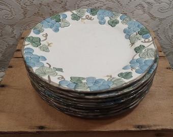 Metlox Poppytrail sculptured grape dinner plates set of 8 & Grape plate | Etsy