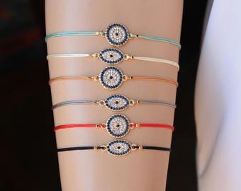 Evil Eye Friendship  Bracelet, Zirconia String Bracelets