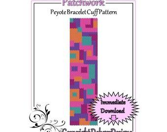 Patchwork - Beaded Peyote Bracelet Cuff Pattern