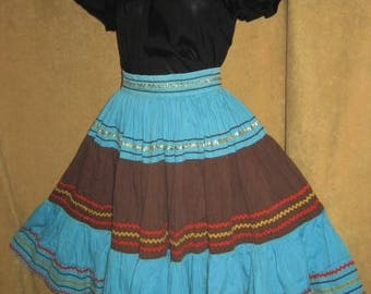 Patio Skirt Rick Rack Turquoise Brown S 50s Vintage