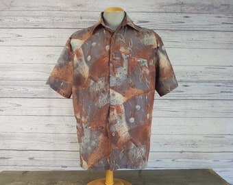Vintage 90s Abstract Organic Design Casual Shirt / Men's Large Andros Short Sleeve Shirt / Retro Vacation Holiday Club Look