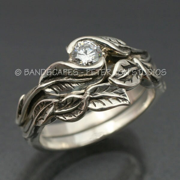 WEDDING RING SET Delicate Leaf Engagement ring with matching