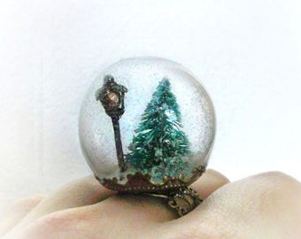 Snow globe ring, Narnia jewelry, fairytale pine tree ring, romantic wishes winter terrarium ring, statement ring, christmas gifts for her