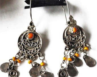 Sterling Chandelier Hippie Orange Glass Dangle Earrings Fish Hook/ Ear Wires