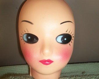 Unusual Big Eye Thin Plastic Doll Face