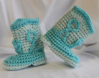Baby Cowboy Cowgirl Booties in Mint Green and Aqua - 3 to 6 Months - Crochet for Baby Girl