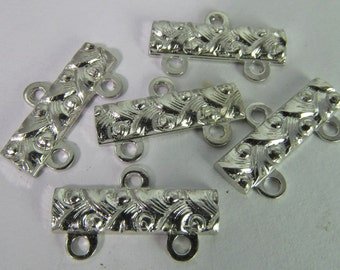 10 Vintage 17mm Two Strand Brushed Silver-Plated Metal Connectors Con255