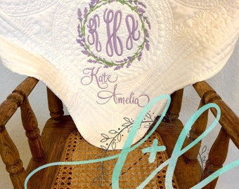 Personalized Baby Blanket, Monogrammed Heirloom Baby Quilt, Baby Shower Gift, Lap Quilt, Scalloped Edge Quilt, New Mom Gift