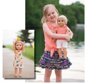 "DOLLY Ella Top & Dress 14"" 15"" 18"" PDF Sewing Pattern"