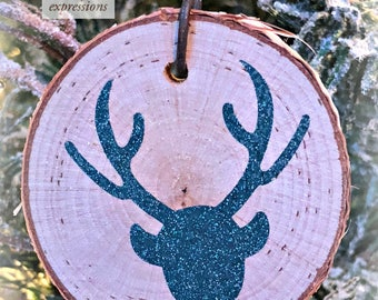 GREEN Buck Head Rustic Ornament | Reclaimed Wood Christmas Ornament | Hostess Gift