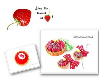 Finery jewels necklace, ring and earrings strawberry pies star fruits fimo
