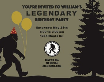 DIGITAL FILE: Bigfoot Party Invitation