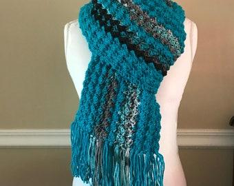 Gehäkelter Schal, Schal gehäkelt, Langschal, Schal, türkis blauen Schal, blauen Schal, Winterschal, langer Schal