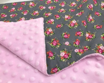 Baby Blanket-Pink and gray baby blanket- pink floral baby blanket- minky baby blanket