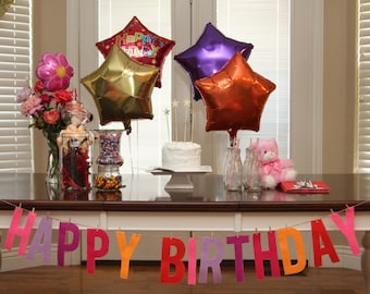 "6"" Bright, Girly Felt Happy Birthday Banner"