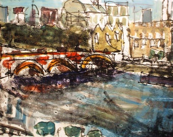 London Thames Painting | Mixed Media | 297mm x 210mm