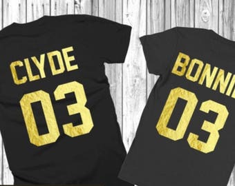 Bonnie and Clyde shirts/03 bonnie and clyde / couples matching shirts /engagment tshirts
