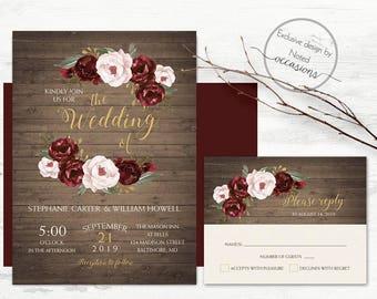 Romantic Rustic Fall Wedding Invitation Burgundy Marsala Wine Blush Floral  Country Wedding Template Wedding Invitation Printable Rustic Set