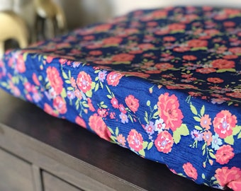 Changing Pad cover- Crib sheet- girl nursery- floral- wood grain- toddler sheet- baby shower gift- fitted sheet- vintage-farmhouse