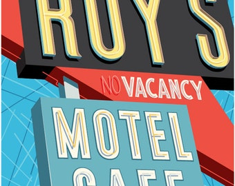 Roy's Motel Cafe, Route 66 poster, Route 66 wall art, Route 66 art print, Poster, Rt. 66 art, Route 66 art, Wall decor, Gift, Route 66 print