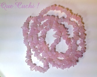 Necklace of 80 cm  with rose quartz chips