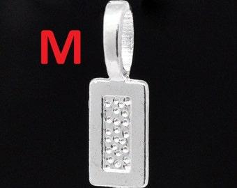 100 pcs. Silver Plated Rectangular Medium Glue On Bails - 21x7mm