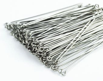 50 Stainless Steel Eye Pins - 21  or 24 gauge - Economical,  Straight and Consistent - 100% Guarantee