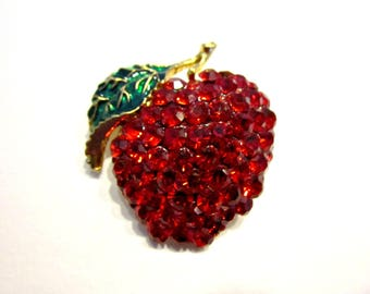 Vintage Red Apple Brooch Bright Red Rhinestone Green Enameled Pin Gift for Teacher Apple Jewelry Gift Idea Under 25