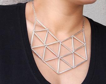 Geometric Bib Statement Necklace in Silvertone // Bib Necklace // Statement Jewelry // Gift for Her // Geometric // Modern Necklace