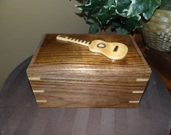 Simple cremation box with personalized wood applique on the top, Urn for Human Cremation Ashes for Funeral, Memorial or Celebration of Life