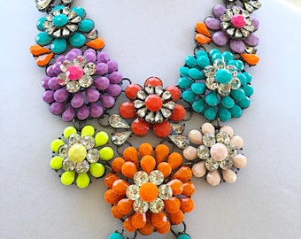 Multicolored Flowers with Dark Gray Chain/ Multicolored Flowers Bib Necklace.