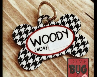 Personalized pet tag - Houndstooth