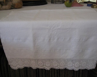 Vintage Hand Towel With Crochet Trim And Monogram