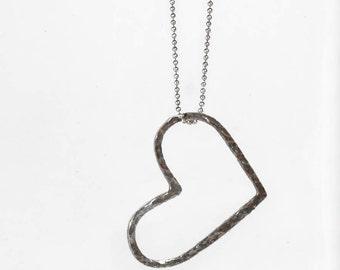 Heart  Silver Necklace - Minimalist Heart Necklace - Airy Heart Necklace - Romantic Silver Necklace - Big Heart Necklace - 925Heart Necklace