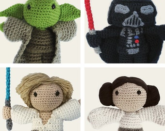Star Wars Pack: Yoda, Darth Vader, Luke Skywalker & Leia. Amigurumi Pattern PDF, DIY, Crafts, Crochet, Doll, Geek, Gift, Instant download