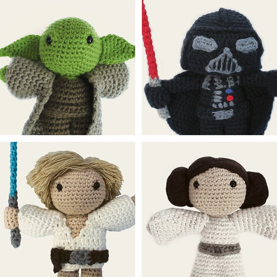 Star Wars Pack: Yoda, Darth Vader, Luke Skywalker & Leia. Amigurumi Pattern PDF.