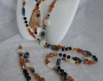Amber Blue Necklace:  Lariat