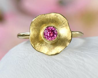 Pink Sapphire Flower Ring, Ethical 18k Gold