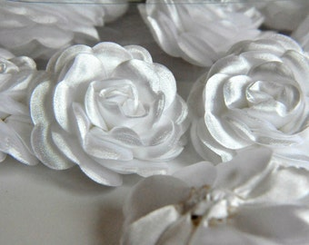 2 pc  BIG Satin  Roses Pin Brooch Hat Hair Accessory Baby Girls Bow Headband Quilting
