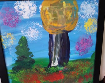 """Framed original painting (13.5"""") """"Sunsphere Knoxville"""" by The Artist Emma"""
