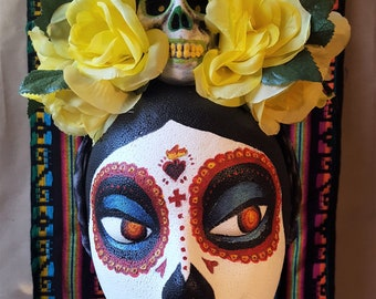 Dia de los Muertos Flower Crown - Yellow with Skull