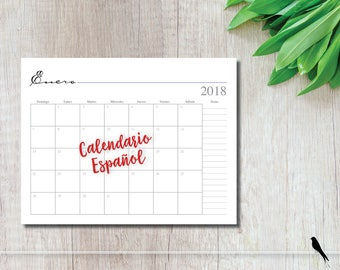 2018 Printable 12 Month Wall Calendar - Spanish Monthly Calendar - 2018 Calendario - Instant Download Notes Calendar