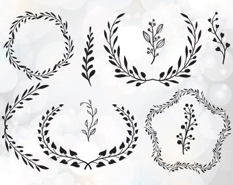 Laurel leaf wreath svg - Laurel branch clipart - laurel wreath clipart digital download - leaf circle monogram frame svg, png, eps, dxf, pdf