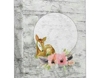 Boho Binder, Deer 3 ring binder, Watercolor Binder, for 8.5x11 inch page size