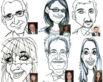 Live Digital Caricatures for marketing, Remote Trade Show Caricature Service, Party Caricatures from Photo, Digital Caricatures from photo