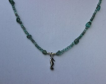 Apatite Gemstone Necklace, Pendant Necklace, Sterling Silver Seahorse Charm, Charm Necklace, Beach Necklace