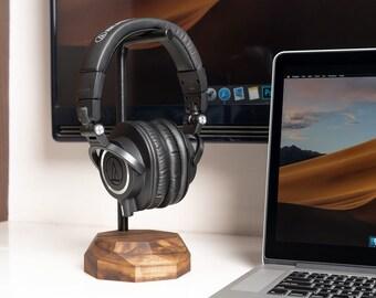 Headphone Holder Wooden headset headphones Stand Wood Hanger Gift Man Phones Audio Rest