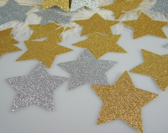 """Star Decorations / Silver & Gold Glitter / Large 2-7/8"""" / Star Gift Tags /  Graduation Party Decoration / Jumbo Table Confetti / Die Cuts"""