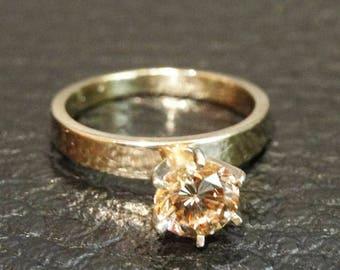 RARE Apricot Diamond Ring, Engagement, Fancy Color, Solitaire Vintage